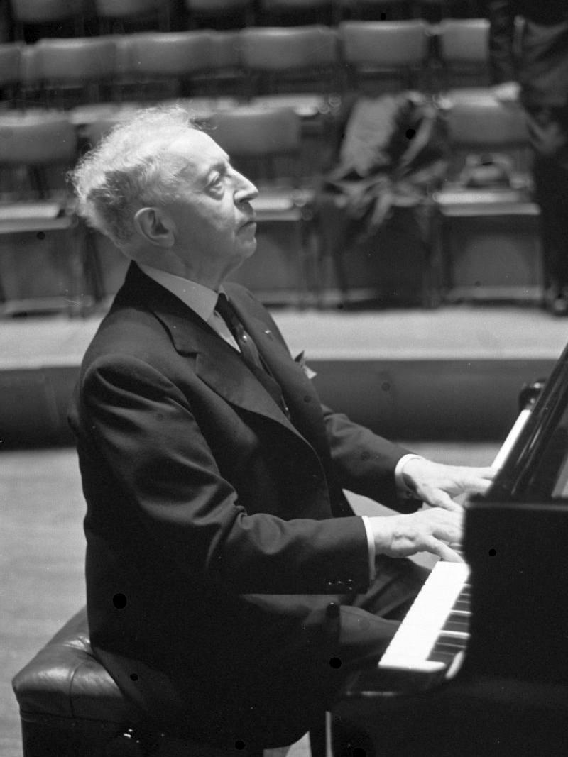 Arthur Rubinstein rehearsing at the piano in 1962